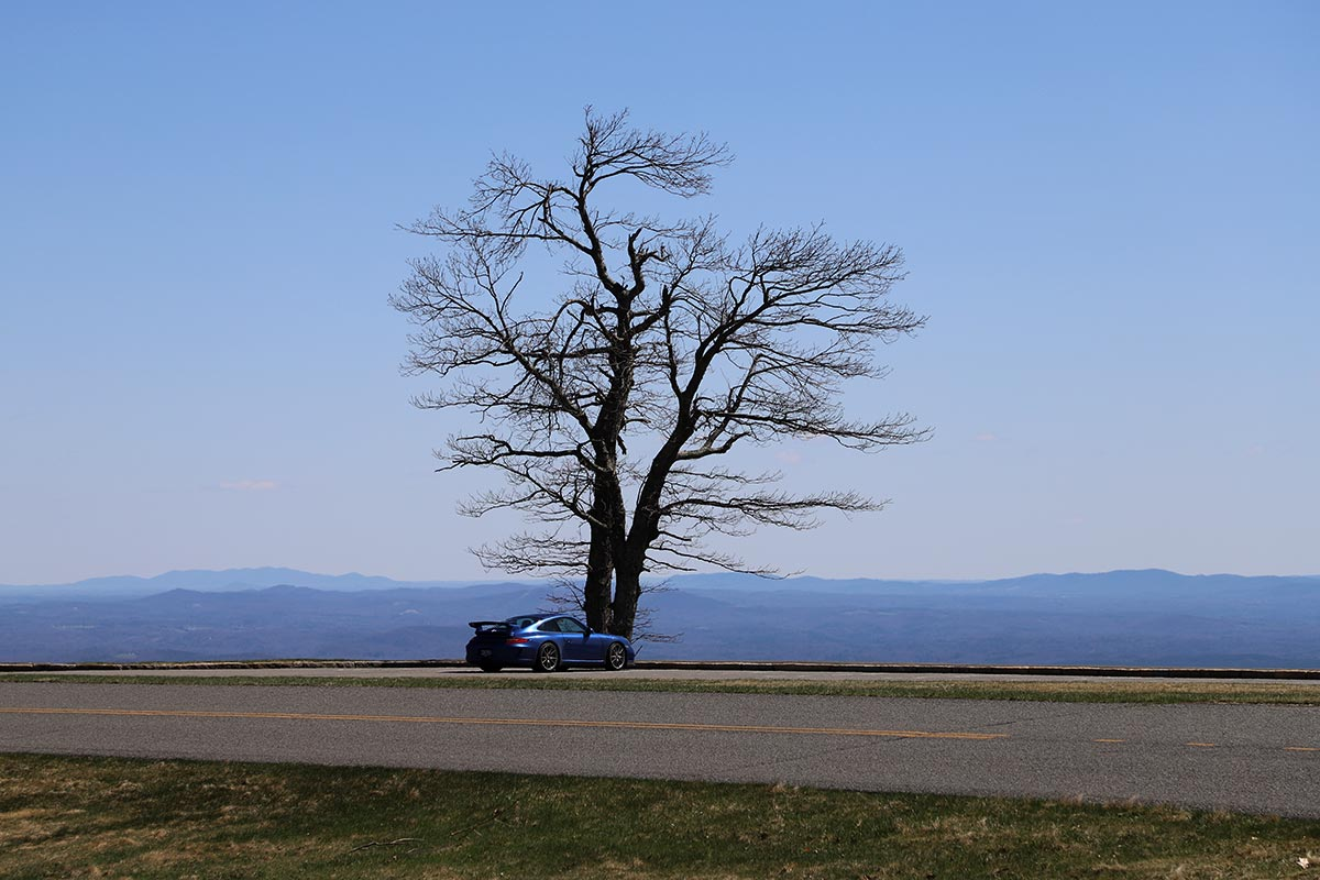 2010 Porsche 997 GT3 on the Blue Ridge Parkway