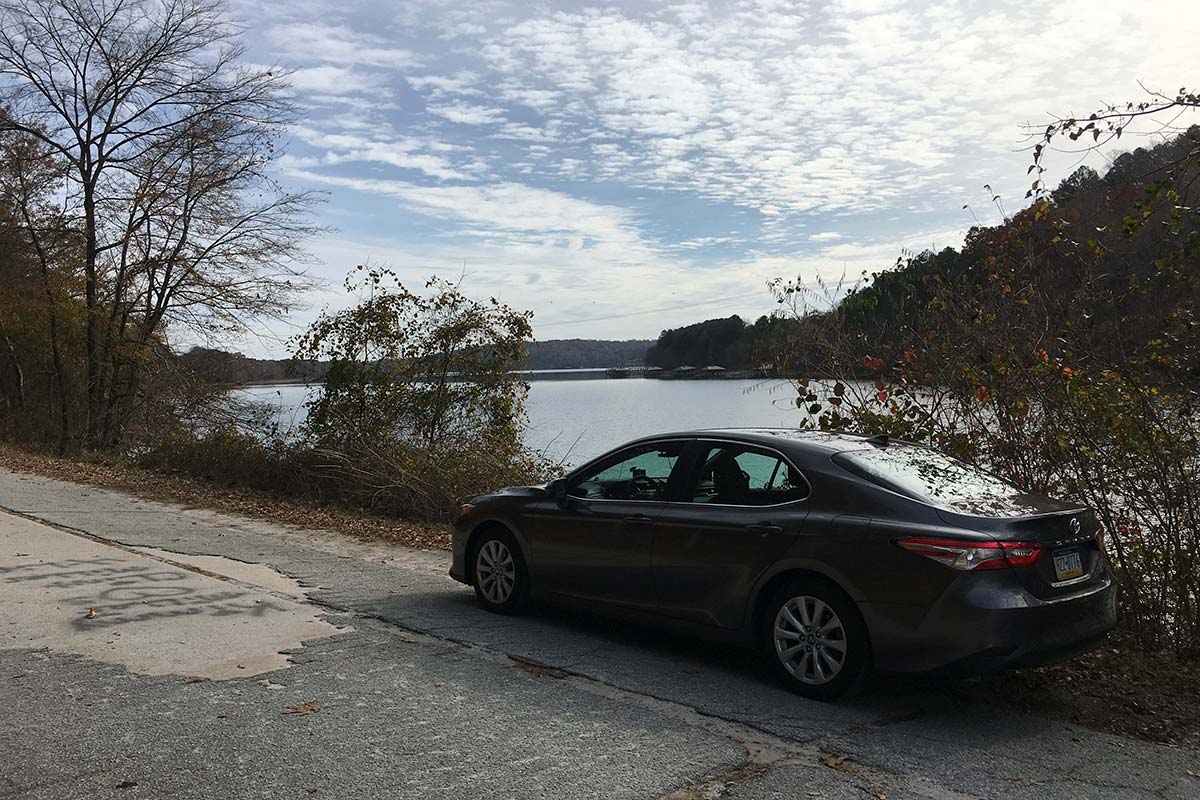 Toyota Camry by a lake in Georgia