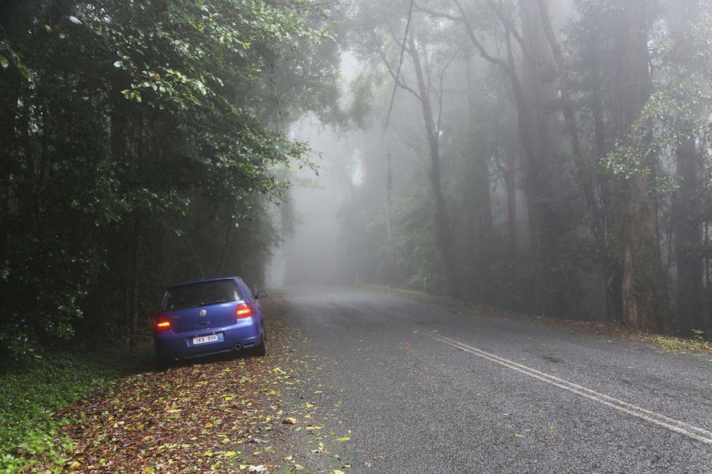 VW Golf R32 in the Queensland mist